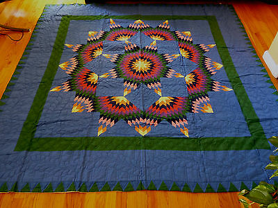 "NEW Handcrafted Colorful Stars Pattern Quilt   87"" x 87"""