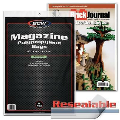100 Bcw Resealable Magazine Acid Free Archival 2Mil Poly Bag Covers 2 Mil