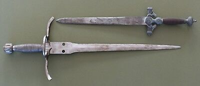 "Antique Vintage Toledo Spain Engraved Dagger & 23"" Short Sword Knife LOT"