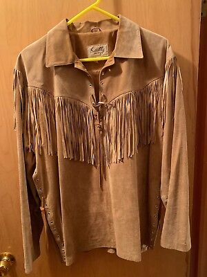 Vintage Scully Suede Fringe  Trapper Mountain Man Lace Up Shirt Jacket Mens L