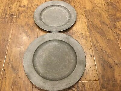 Antique  Pewter Plates With Interesting Crest, Amorial, Marks