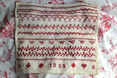 Antique French classic red sampler, hand sewn, dated 1919