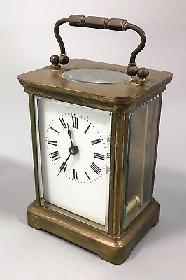 Antique French Brass Duverdrey Bloquel carriage clock timepiece working