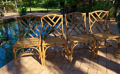 Set of Four Vintage Bamboo Chippendale Chairs