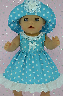 """Play n Wear Doll Clothes To Fit 17"""" Baby Born  TURQUOISE POLKA DOT DRESS~HAT"""