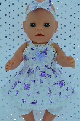 "Play n Wear Doll Clothes For 17"" Baby Born PURPLE FLORAL DRESS~BLOOMERS~HEADBAND"