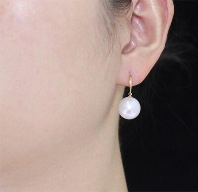 925 Sterling Silver Gold Plated Hook Pierced Faux Pearl Round Stud Earrings