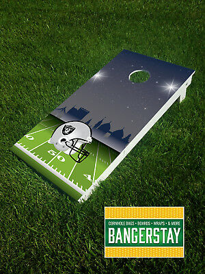 Handcrafted Cornhole Boards with Scorestrip- Oakland Raiders (OR3)