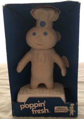 "Official 7"" Poppin' Fresh Doll Pillsbury Dough-boy w/ Stand Vintage 1971 IN BOX"