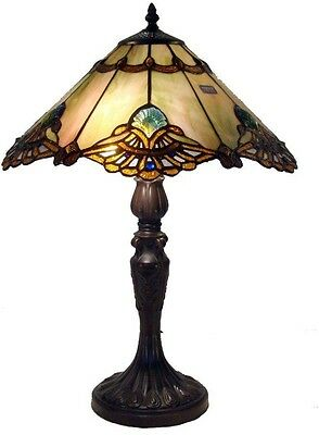 Elegant Hand Cut Tiffany-Style Antique Bronze Table Lamp Glass Stained Art Shade