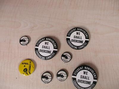 VINTAGE LOT OF 8 RARE CIVIL RIGHTS BUTTONS PINBACKS We Shall Overcome / March