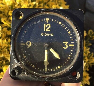 Vtg 1940s WWII Aviator Airplane WITTNAUER AN 5743 L2 Mechanical Wind 8 Day Clock