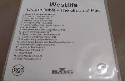 Westlife 'Unbreakable - The Greatest Hits' 19 Track Promo CDr Album (2002)