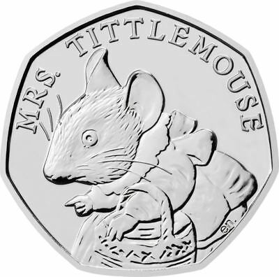 Mrs Tittlemouse Beatrix Potter 50p 2018 Uncirculated Coin from Sealed Bag