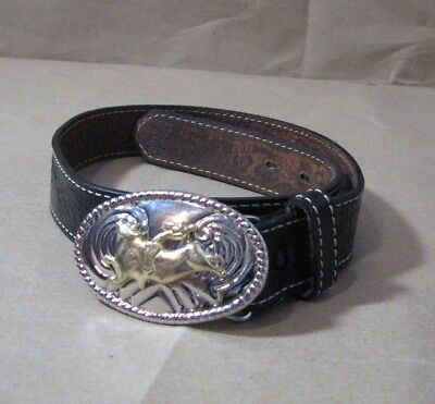 Nocona Belt Black Leather Belt with Silver and Gold Bull Rider Buckle 24 Western