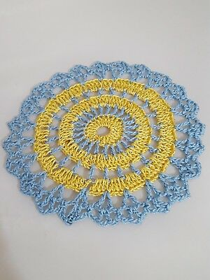 Metallic Yellow Gold in Baby Blue  Bumblebee doily Approximately 5 Inches.