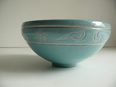 Pottery Bowl Robins Egg Blue Bird & Flowers Artist Signed R Marvel Hand Made