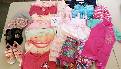 Girls Childrens Size 1 Clothing Bundle - Bulk 22 Item Plus Shoes Good Condition