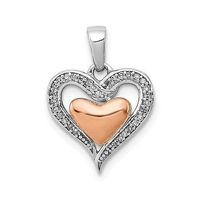 Sterling Silver 14K Rose Gold Heart Pendant. Carat Wt- 0.08ct. (0.5INx0.5IN)
