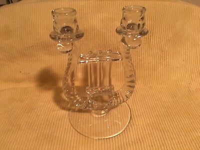Vintage Clear Glass- Double Candle Holder- Music