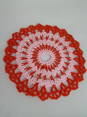 Baby Pink in Red Candy Bumblebee doily Approximately 5 Inches.