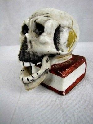 Creepy 1930's Porcelain Skeleton Skull Laughing Nodder Halloween Candy Container