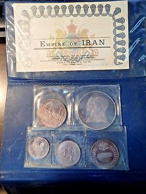Original 1971 Empire of Iran 5 Coin Proof Set KM 1184-1188 Very Scarce