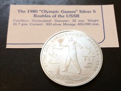 "1980 ""Olympic Games"" Silver 5 Roubles of the USSR Uncirculated Condition"