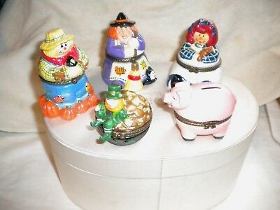 5 Collectibles Raggedy Ann Witch Scarecrow Leprechaun & Pink Pig Hinged Boxes