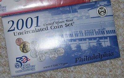 1 -2001P  Us Mint Uncirculated 10 Coin Set - 5 State Quarters + 5 More Coins