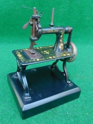 American Gem Toy Sewing Machine  Antique TSM On Miniature Cast Iron Treadle Base