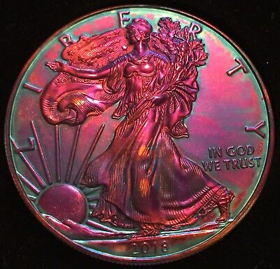 2018- 1oz silver american eagle dollar with Stunning Art toning .999 Fine Silver