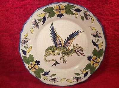 Antique French Faience Hand Painted Winged Dragon Plate, ff432