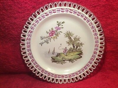 Wall Plate Beautiful Antique Hand Painted French Faience Wall Plate c1830, ff493