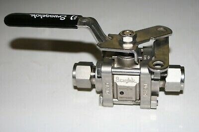"1/2"" Tube SS 3-Piece Ball Valve W/Locking Handle Swagelok SS-63TDVS8-JL"
