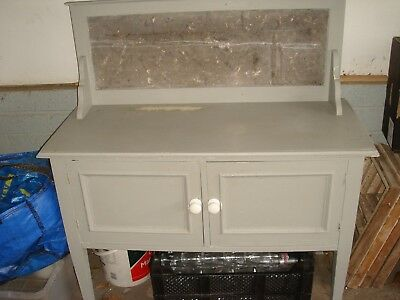 antique cupboard marble wash stand unit vintage painted ? edwardian grey painted
