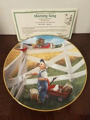 Little Farmhands MORNING SONG John Deere Danbury Mint Plate Donald Zolan