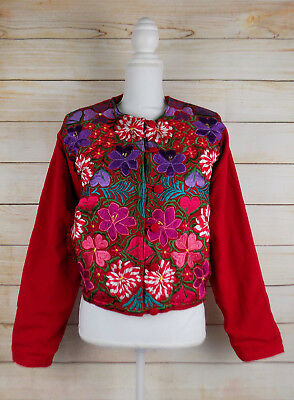 Handmade Womens Embroidered Guatemalan Jacket Blazer Coat Large Bohemian Pockets