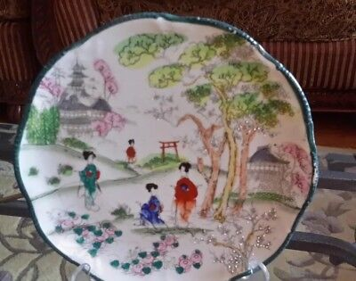 Antique Chinese/Japanese hand painted Green plate