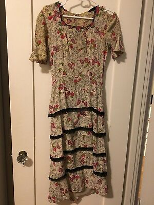 Vintage 1930s 1940s Novelty Print Dress Antique Study As Is Small rockabilly