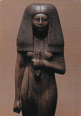1978 Egyptian priestess wood statue Postcard art Louvre