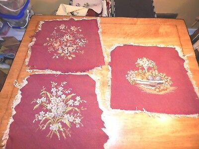 Set Of 3 Vintage Needlepoint Pieces On Cranberry Colored Background