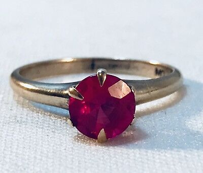 Vintage Antique 10K Solid Yellow Gold Solitaire Round Ruby Ring Sz 6