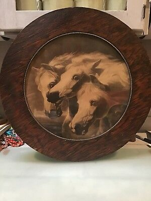 BEAUTIFUL Vintage 3 Horses Picture In Wooden Round Frame MUST SEE!!