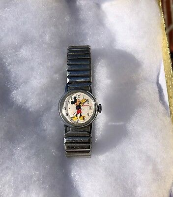 Vintage Mickey Mouse Ingersoll Mechanical Wristwatch - Excellent Working Order