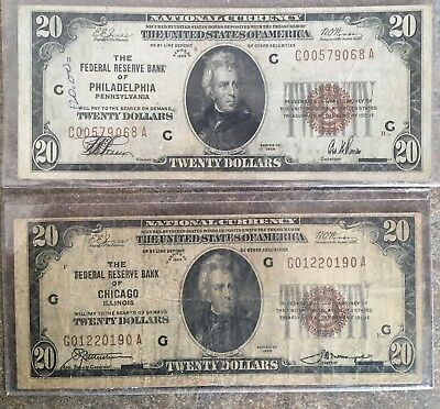 1929 $20 US Bills - Lot Of 2 (1 Chicago And 1 Philadelphia Bank Note) Bill