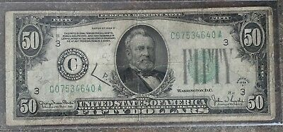 1934 $50 US Bill - United States Federal Reserve Note Fifty Dollar