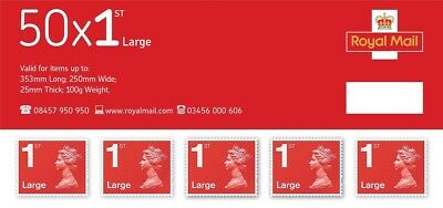 Royal Mail 50 Large Letter 1st Class Self Adhesive Stamp Sheet