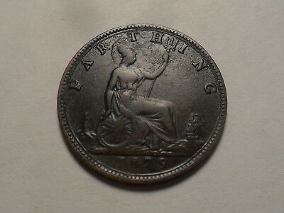1879 Nice Great Britain Bronze Farthing Low Mintage 3,977,000!!!
