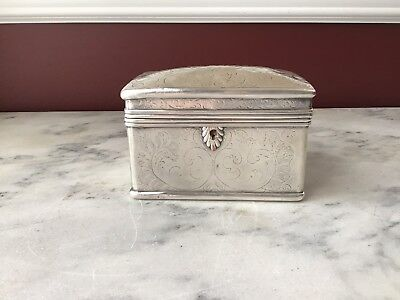 E, Antique Silver Plated Trinket Box, Hand Hammered